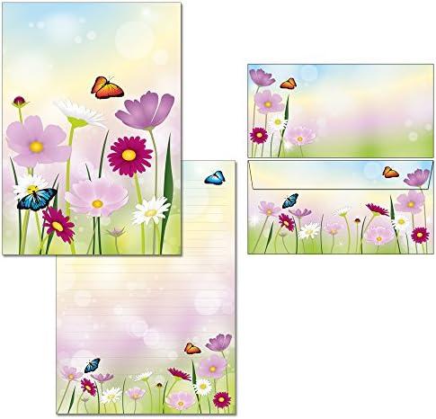 Briefblock-Set Blumenwiese - 1 Schreibblock mit Linien DIN A4 + 10 Briefumschläge DIN lang 7360+61230 (ohne Mappe)