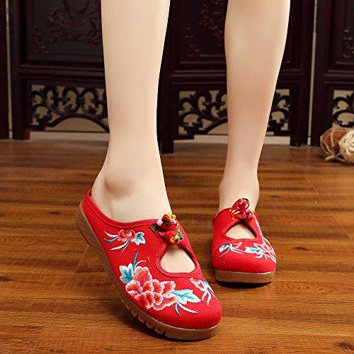 GuiXinWeiHeng xiuhuaxie Zapatos bordados, lenguado de tend¨®n, estilo ¨¦tnico, flip flop femenino, moda, sandalias c¨®modas y casuales red