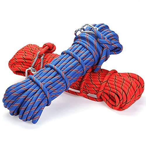 HEI LEYOU Professional Climbing Rope High Strength Cord Safety Climbing Carabiner Hiking Accessory 10Mm Diameter 3KN Striped Buckle10-30M Red 30m ()