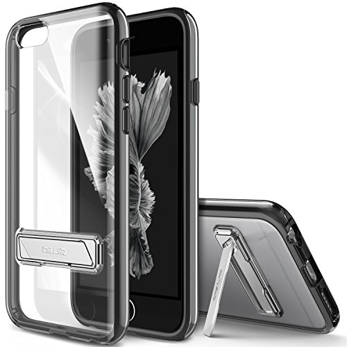 iPhone 6 Case, OBLIQ [Naked Shield][Black][Metal Kickstand] Slim Fit Crystal Clear Scratch Resist Heavy Duty Protection Dual Layer Case for Apple iPhone 6S (2015) & iPhone 6 (2014)