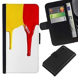 Protector de cuero de la PU de la cubierta del estilo de la carpeta del tirón BY RAYDREAMMM - Sony Xperia Z3 D6603 - Rojo amarillo