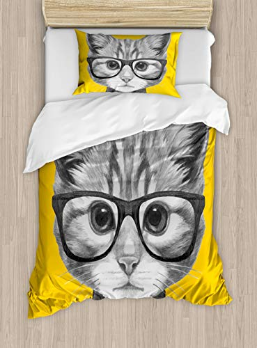Ambesonne Animal Duvet Cover Set Twin Size, Sketchy Hand Drawn Design Baby Hipster Cat Cute Kitten with Glasses Theme Art Image Print, A Decorative 2 Piece Bedding Set with 1 Pillow Sham, Grey Mustard
