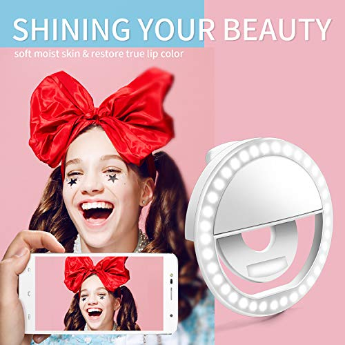 Selfie Ring Light, Enlody Dimmable Clip Ring Lighting - Rechargeable 36 LED Bulbs Light for iPhone, Android, Tablet, iPad, Laptop, Camera (White) by Enlody (Image #2)