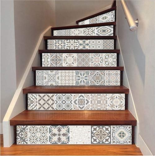 Zller2587 Pegatinas De Escaleras Azulejos De Imitación Árabe Escaleras Pegatinas De Vinilo DIY Corredor Renovación Calcomanía Autoadhesiva Escalera Wallpaper Home Decor 6 Unids/Set: Amazon.es: Hogar