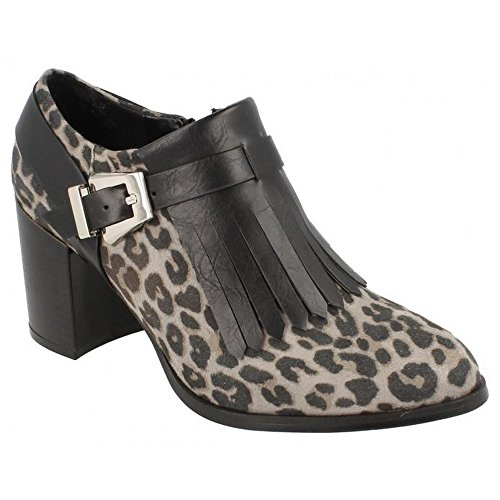 Boots Ankle Womens Gray Spot Fringed Ladies Heel Leopard On Print xwFXgUOqY