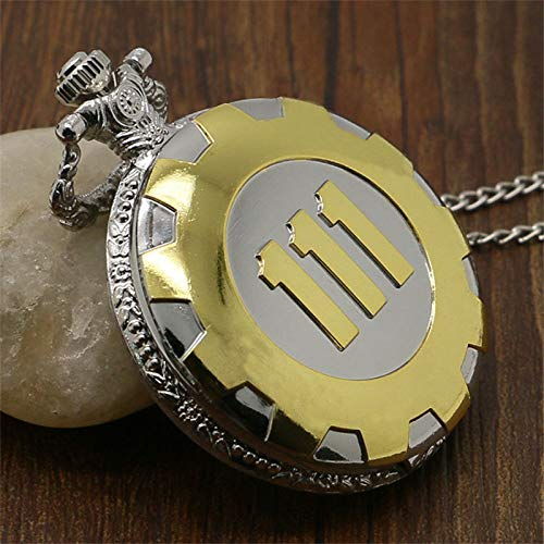 Retro Cosplay Game Fallout 4 Vault 111 Steampunk Quartz Pocket Watch Unisex Necklace Chain Pendant Cosplay Props 3 Colors ()
