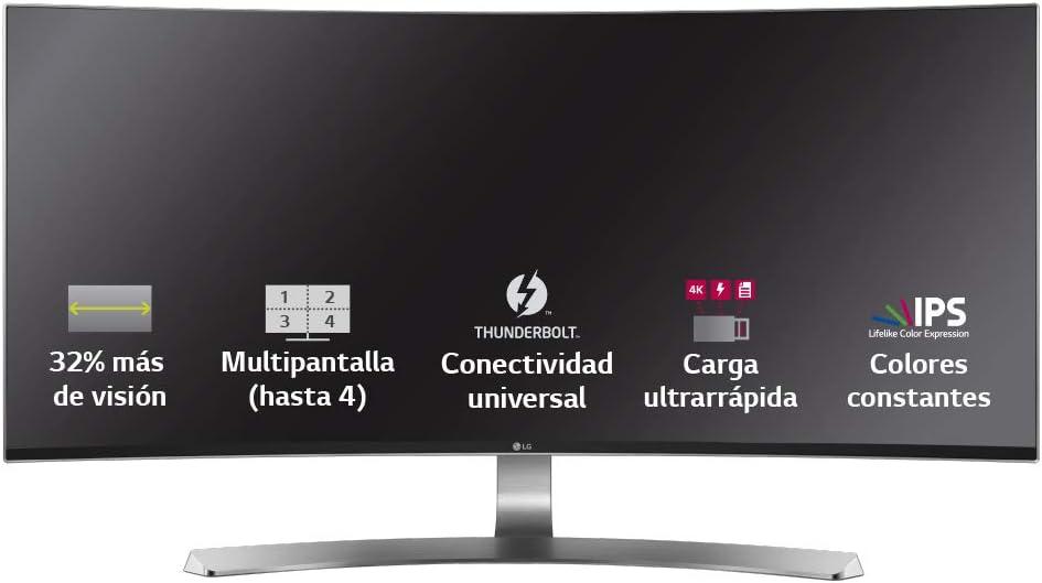 LG 34UC98-W - Monitor UltraWide Curva de 87 cm (34 pulgadas, Quad HD, IPS, LED, 3440 x 1440 pixeles, 5 ms, 21:9, 250 cd/m2) Color Blanco: Amazon.es: Informática