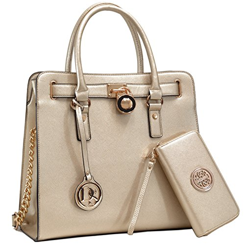 (Women's Large Fashion Handbag Top Belted Padlock Satchel Bag Top Handle Shoulder Bag Purses w/Matching Wallet (2553w-Gold.) )