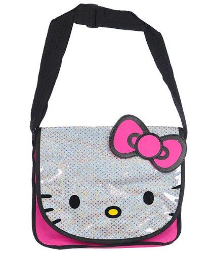 8342ca4777b3 Amazon.com  Hello Kitty Large Glitter Messenger Bag  Clothing