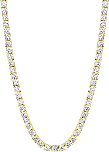 """White Gold Finish Silver Prong 3D Chocker Lab Diamond Chain Necklace 6mm 20/"""" 24/"""""""