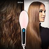 PETRICE Electric LCD Hair Straightening Brush Comb Machine