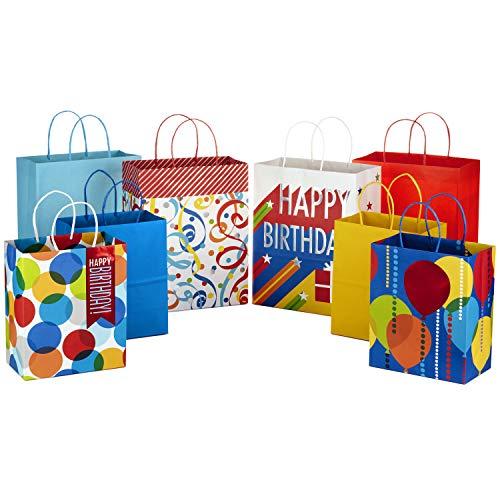 Hallmark 5EGB6095 Stiff Handle Bundle, Birthday (4 Large, 4 Medium) Gift Bag, Assorted,