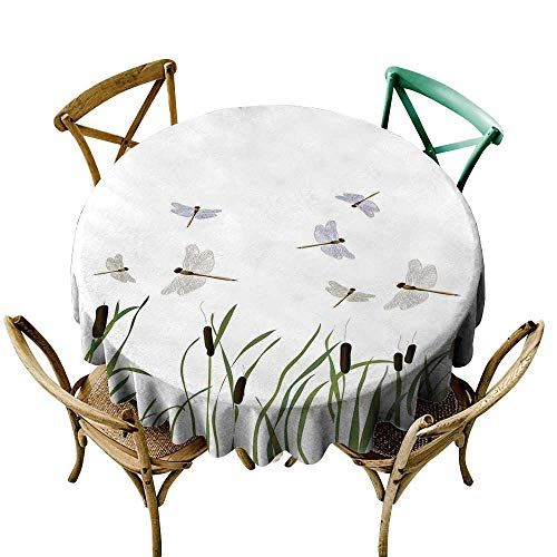 Wendell Joshua red Tablecloth 39 inch Dragonfly,Flying Small Dragonflies Over Tall Reeds Botanical Environmental Artsy Graphic,Purple Green 100% Polyester Spillproof Tablecloths for Round Tables
