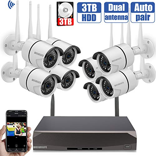 Security Camera System Wireless,8 Channel Home Outdoor Wireless Surveillance Camera System and 8Pcs 960P WiFi Security Weatherproof IP Camera with Night Vision,Remote View,3TB Hard Drive