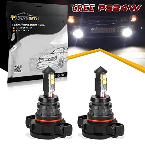 Partsam Cree 5202 PS24W H16 LED Fog Lights Bulbs Daytime Running Light Replacement For GMC Chevy Nissan Vehicles Golden Yellow 4150312 (Pack of 2) (Golden Cross Chart)