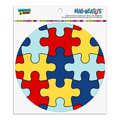 Autism Awareness Diversity Puzzle Pieces Automotive Car Refrigerator Locker Vinyl Circle (Diversity Magnet)