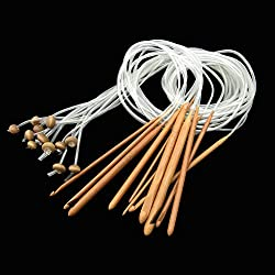 """12 Sizes 1.2M 48"""" Afghan Tunisian Carbonized Bamboo Needle Crochet Hooks Set with Beads for DIY Craft"""