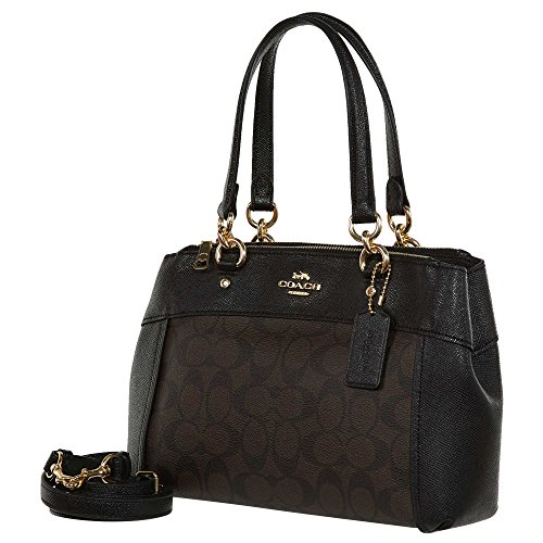 Leather Mini Strap Carryall Signature Mini Detachable Brooke Womens Handbag Black Crossbody Coach Crossgrain Brown UTq60n