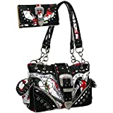 Western Camo Print Rhinestone Buckle Accent Purse Handbag With Matching Wallet - Red/Multi Colors