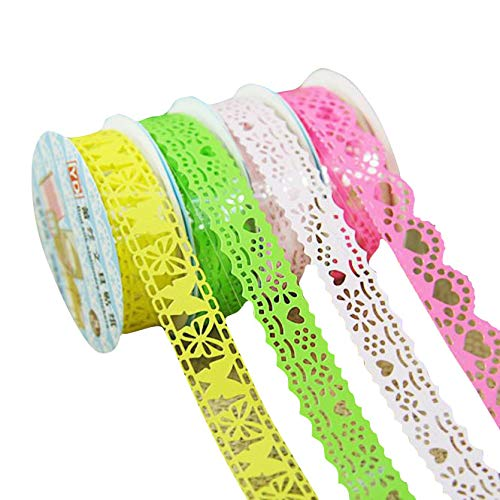 (Lace Washi Tape Set 10 Rolls Masking Tape Colored Labelling Tape Graphic Art Tape Roll for Fun Great for DIY Decor Scrapbooking Sticker Masking Paper Decoration Tape Adhesive (Colored))