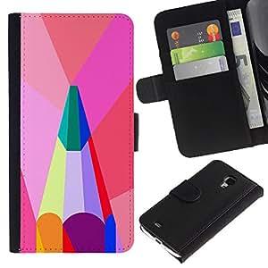 Polígono artista Rosa Verde trullo- la tarjeta de Crédito Slots PU Funda de cuero Monedero caso cubierta de piel Para Samsung Galaxy S4 Mini i9190 (NOT S4)