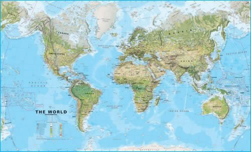 Large World Wall Map Environmental Without Flags Laminated With