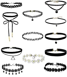 ZIOOER 12 Pieces Choker Necklace for Women Girls, Classic Velvet Stretch Gothic Tattoo Lace Necklace