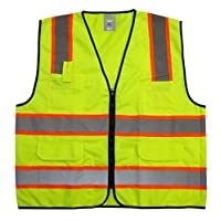 """GripGlo TLS-432 Amazing High Visibility Reflective Safety Vest With 6 Multi-Functional Pockets Neon Lime Zipper Front, 2"""" Reflective Strips With ORANGE TRIM For MAXIMUM VISIBILITY - Meets ANSI/ISEA 107-2010 - Class 2/Level 2 - X-Large"""