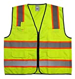GripGlo TLS-432 Amazing High Visibility Reflective Safety Vest With 6 Multi-Functional Pockets Neon Lime Zipper Front, 2'' Reflective Strips With ORANGE TRIM For MAXIMUM VISIBILITY - Meets ANSI/ISEA 107-2010 - Class 2/Level 2 - Large