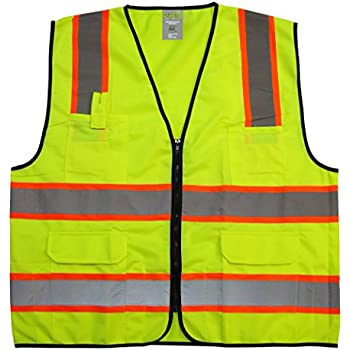 "GripGlo TLS-432 Amazing High Visibility Reflective Safety Vest With 6 Multi-Functional Pockets Neon Lime Zipper Front, 2"" Reflective Strips With ORANGE TRIM For MAXIMUM VISIBILITY - Meets ANSI/ISEA 107-2010 - Class 2/Level 2 - XX-Large"