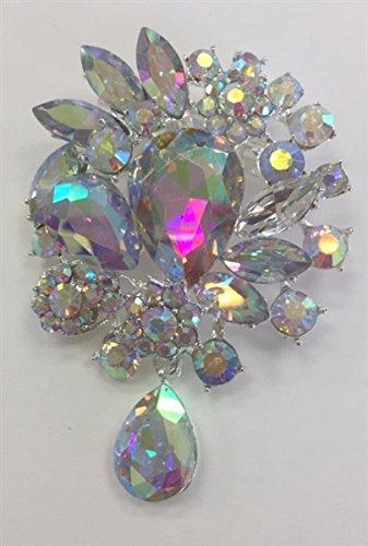 ModaTrims Crystal Rhinestone Brooch Pin (AB Crystals, Silver Metal Frame, 3 inch x 2 inch) - BRO-040-AB - 1 PCS ()