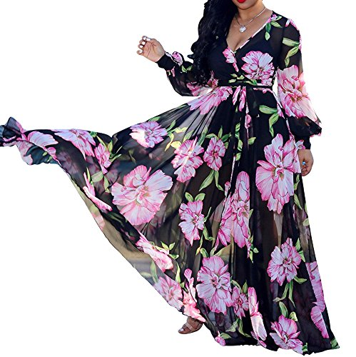 Hestenve Womens V Neck Chiffon Long Sleeve Floral Printed Long Maxi Dress