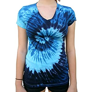 Rockin' Cactus Women's(Reg) V-Neck Tie Dye Shirt
