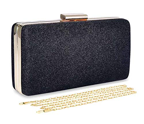 Selighting Women's Glitter Evening Bags Clutches Formal Wedding Clutch Purse Prom Cocktail Party Handbags with Chain Strap (One Size, - Shimmer Clutch
