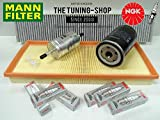 MANN Premium Service Kit For Jaguar X-Type 2.5 196Hp 3.0 230Hp V6 Petrol 01-09 Air Cabin Fuel Oil Filter & Spark Plugs Ngk New