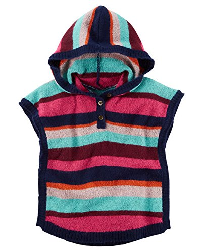 Carters Little Girls Striped Pullover Button Front Hooded Poncho Sweater (3t)