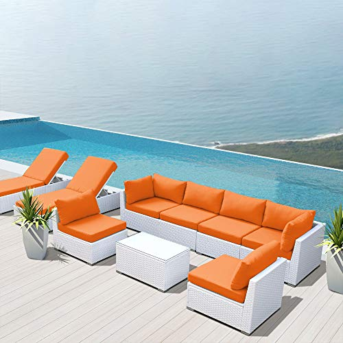 Dineli Outdoor Sectional Sofa Patio Furniture White Wicker Conversation Rattan Sofa Set with Chaise Lounge Chair G9 (Orange)