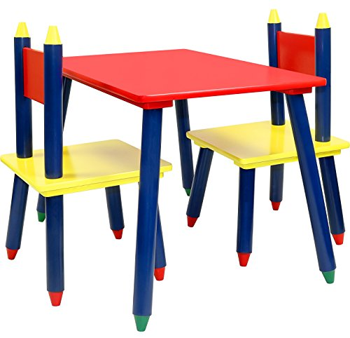 Greenco Click N' Play Kids Wooden Crayon Themed Table And Chair Set by Greenco