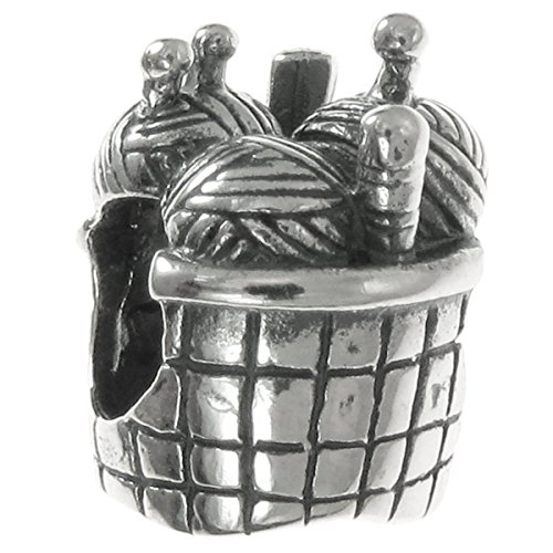 Sterling Silver Knitting Wool Needle Basket Bead For European Charm - Knitting Needles Charm