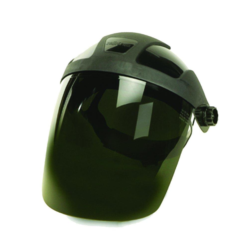 Sellstrom S32050 DP4 Series Grinding Faceshield, Black Crown, Shade 5 UV/IR Polycarbonate Window with Ratchet Headgear
