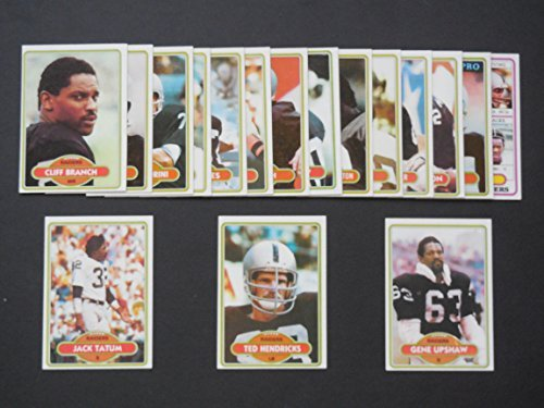 Oakland Raiders 1980 Topps Football Team Set (Super Bowl Champions)**Cliff Branch, Jim Breech, Raymond Chester, Dave Dalby, Ray Guy, Lester Hayes, Ted Hendricks, Monte Jackson, Dan Pastorini, Dave Pear, Art Shell, Jack Tatum, Gene Upshaw, Mark van Eeghen, Phil Villapiano, Arthur Whittington ()