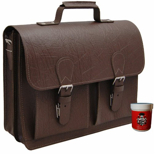 BARON of MALTZAHN Men's briefcase DIESEL brown boar leather, Made in Germany + leather care