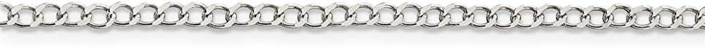 Solid 925 Sterling Silver 2.5mm Wide Curb Cuban Chain Necklace