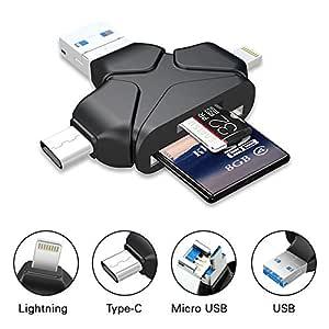 4 en 1 Lector de Tarjetas de Memoria SD Micro SD (TF) Adaptador ...