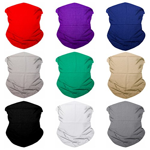 (Sojourner 9PCS Seamless Bandanas Face Mask Headband Scarf Headwrap Neckwarmer & More - 12-in-1 Multifunctional for Music Festivals, Raves, Riding, Outdoors (Solid 1) )
