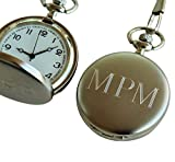 Personalized Brushed Silver Quartz Pocket Watch - Groomsmen Wedding Party Gifts - Engraved for Free