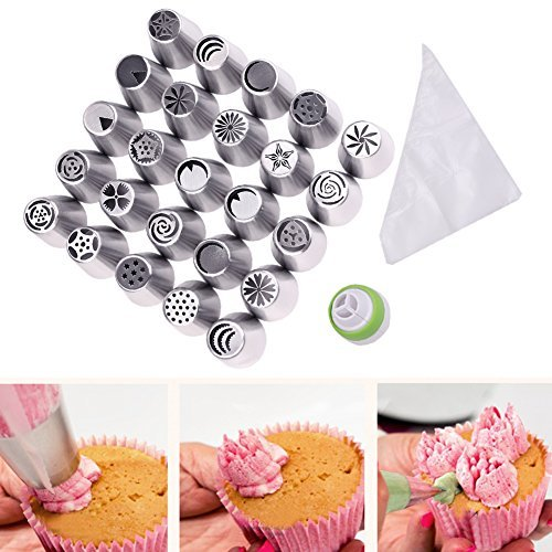Candora Russian Piping Tips 46pcs 25 SET integrated molding Cake Decorating Mouth Stainless Steel Large Size Cake Decorating Tools