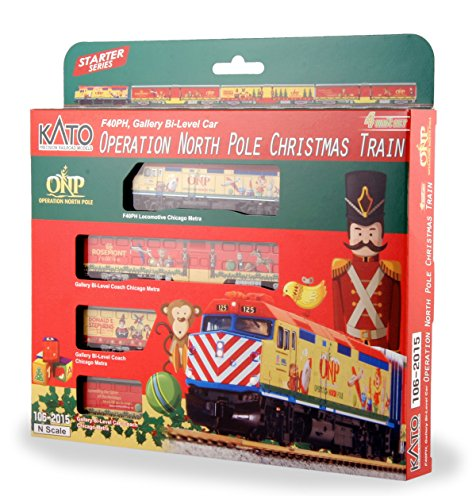 Kato USA Model Train Products N Operation North Pole Christmas Train 4-Unit Set Train - Christmas Model Trains