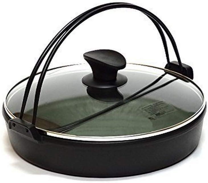 JapanBargain, Sukiyaki Nabe Pot Shabu Shabu Hot Pot Pan with Glass Lid for Induction Heating IH Stove
