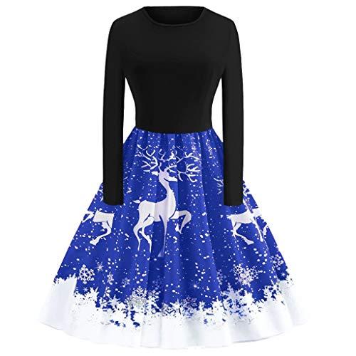 kaifongfu Christmas Evening Party Dress Women O Neck Long Sleeve Dress(Blue,S - Oxford Contemporary Dresser